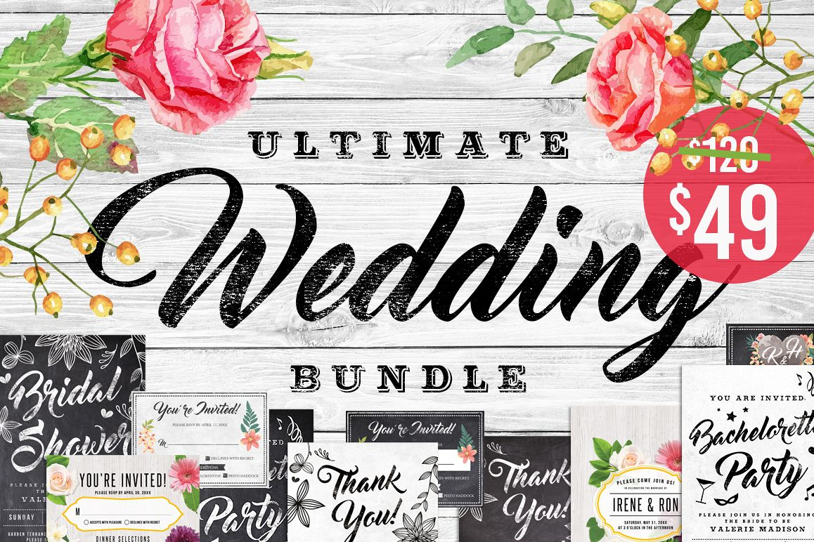 Massive Wedding Invite Bundle Flyer Save the Date Bridal Shower Party 60% Off example image