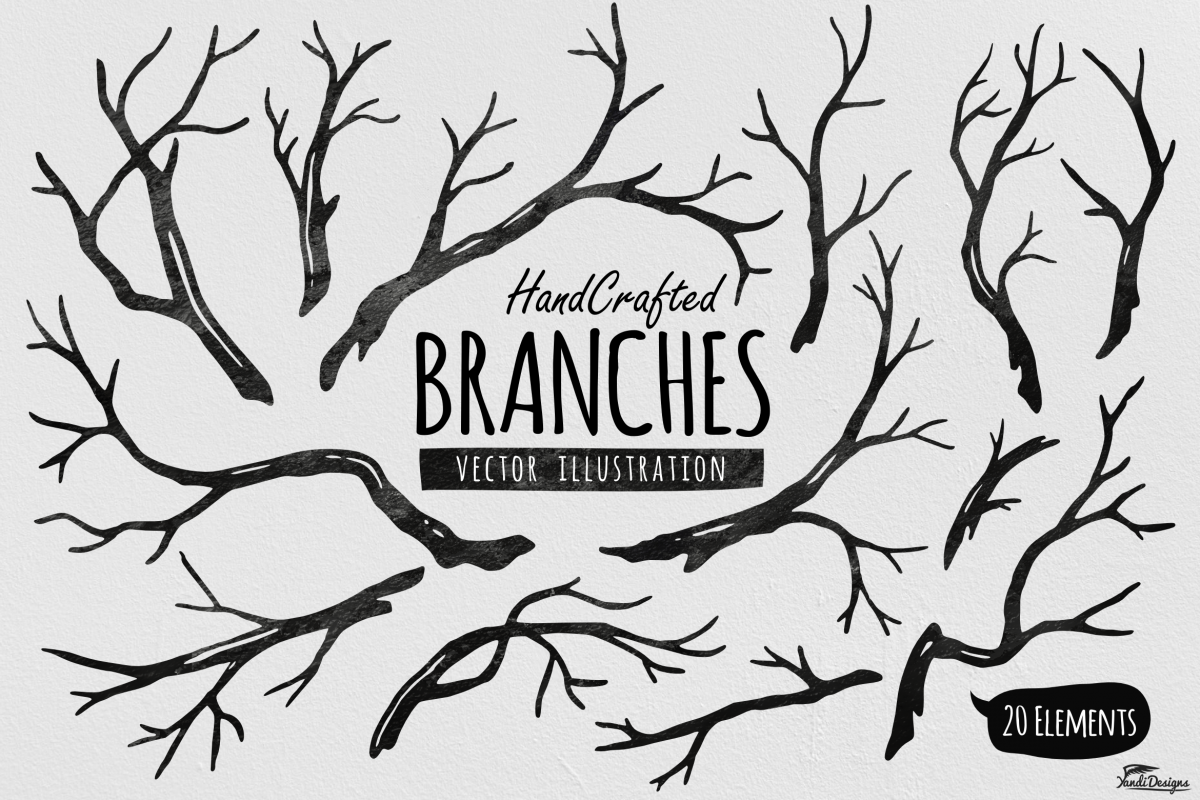 hand crafted tree branches vector by ya design bundles rh designbundles net free vector tree branch tree branch vector