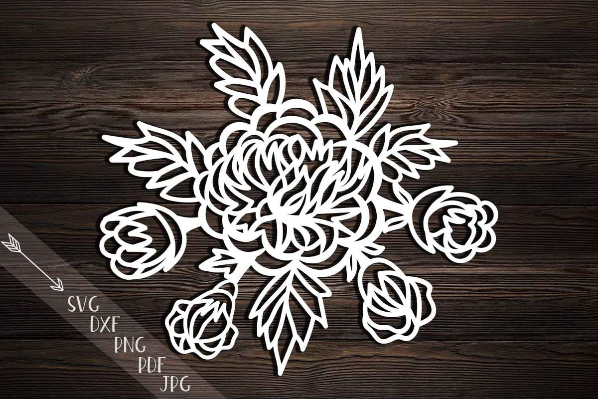peonies svg, cutting template, peony pa | Design Bundles