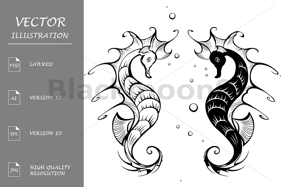 Silhouettes of Seahorses example image