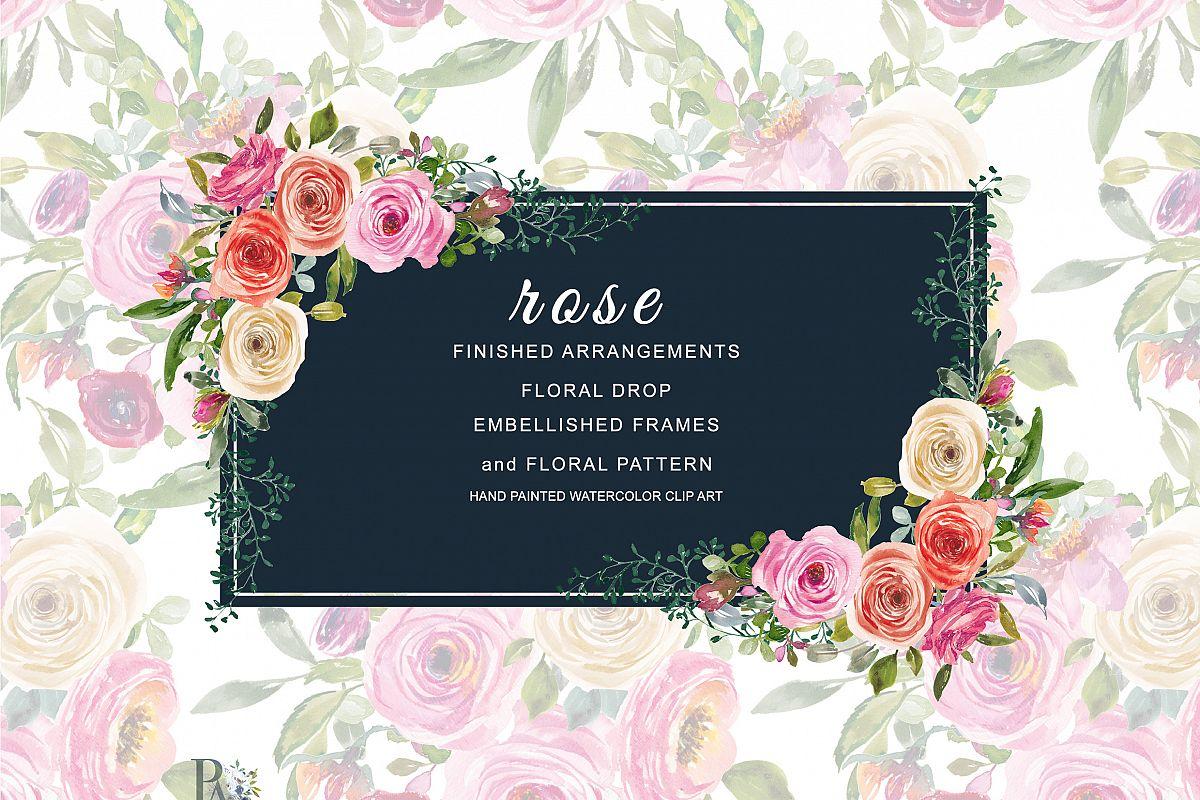 Watercolor Peach and Pink Roses Arrange | Design Bundles
