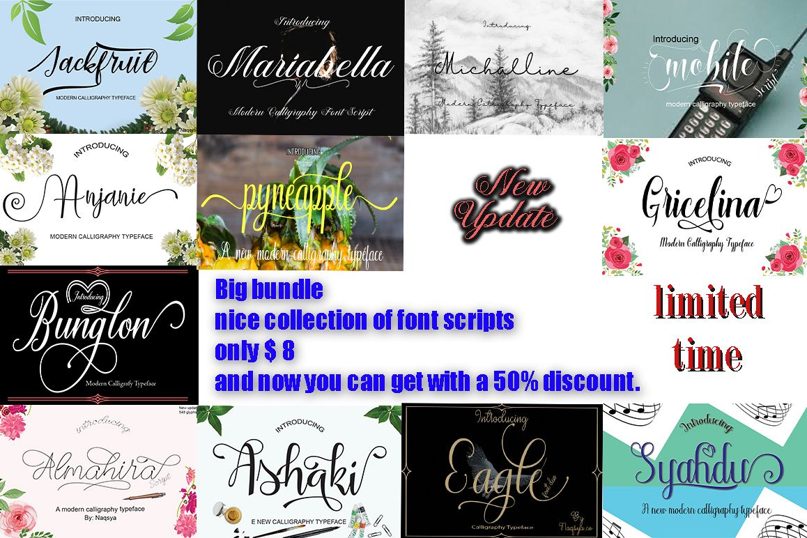Big Bundle (nice collection of font script) example image