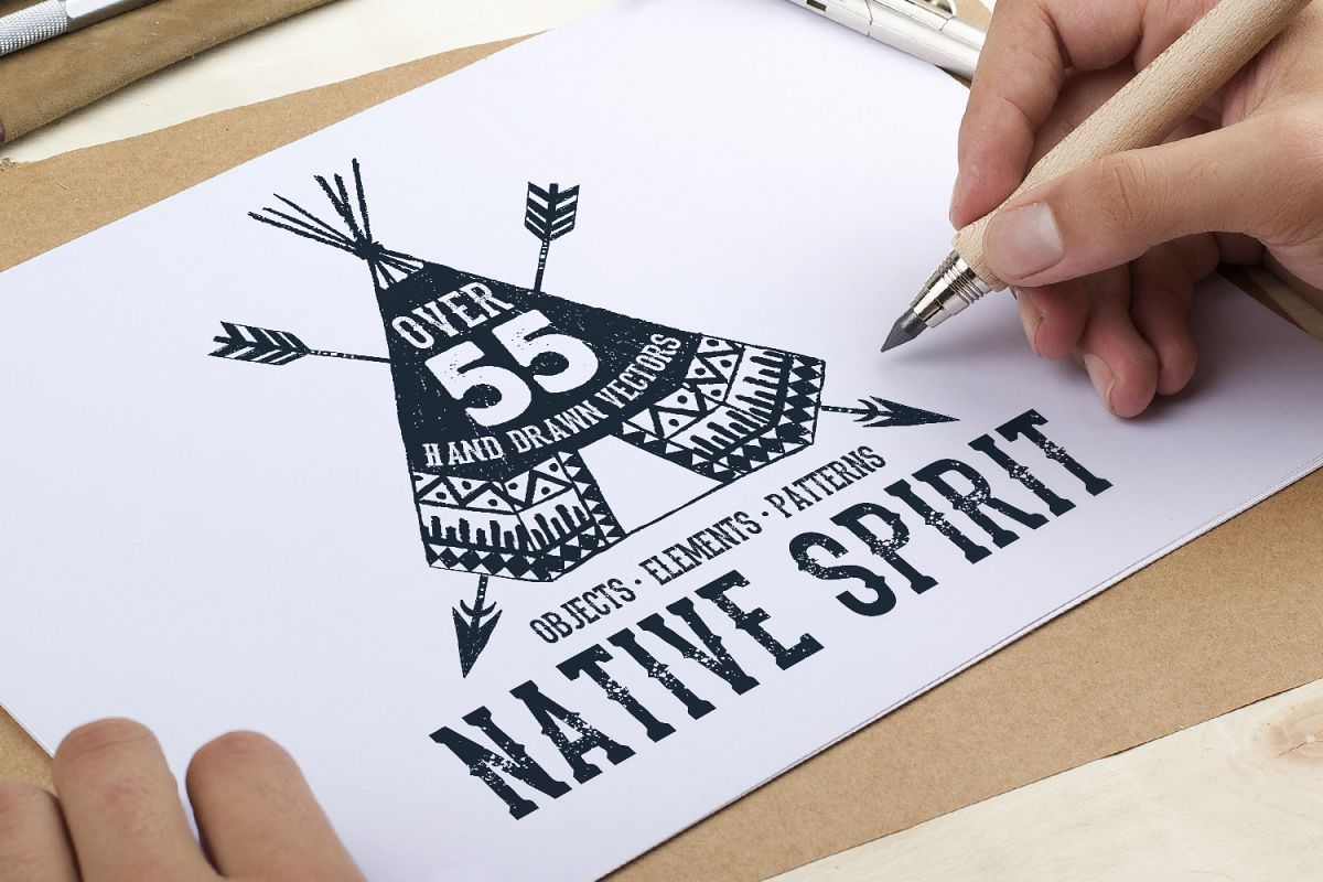 Native Spirit. 55 Hand Drawn Objects example image