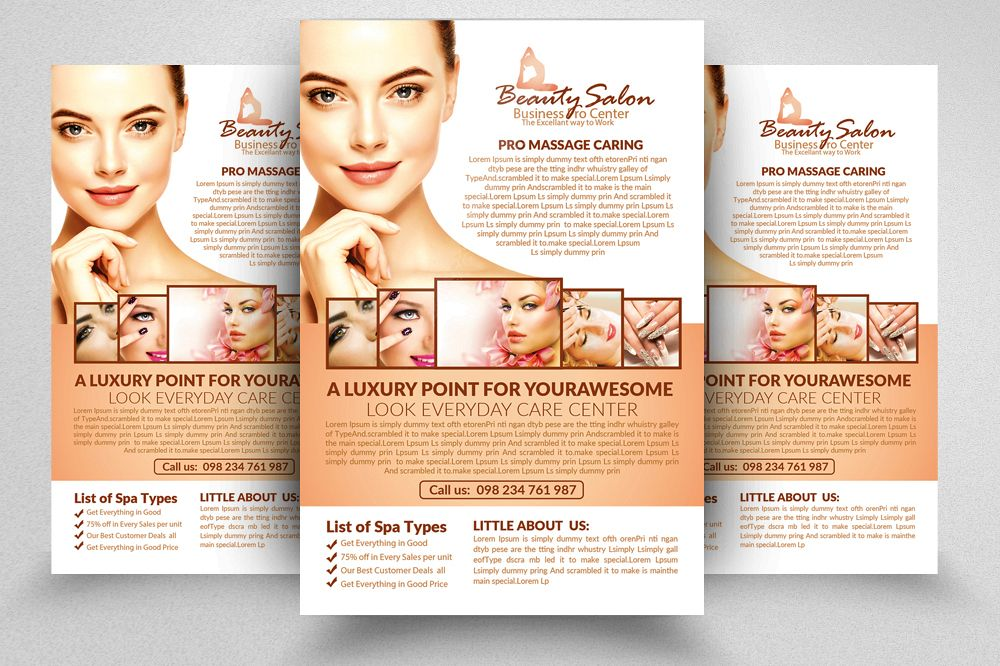 Beauty Salon Psd Flyer Template By Desi  Design Bundles