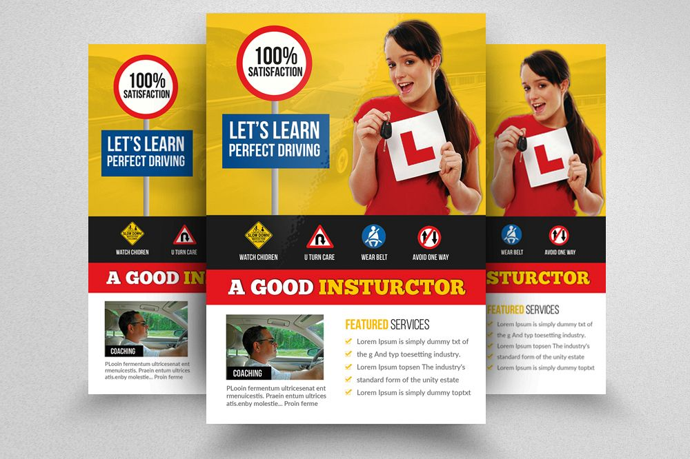 Driving School Flyer Template By Desi  Design Bundles