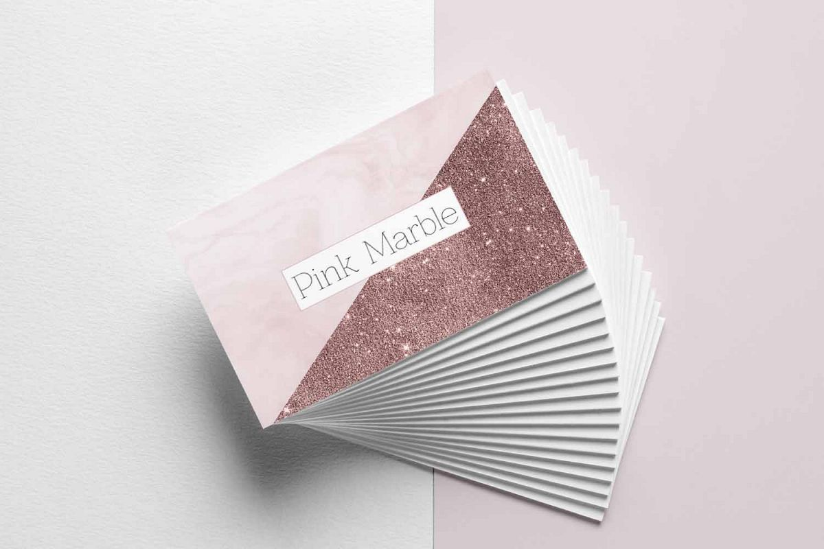 Pink Marble and Glitter Business Card T | Design Bundles