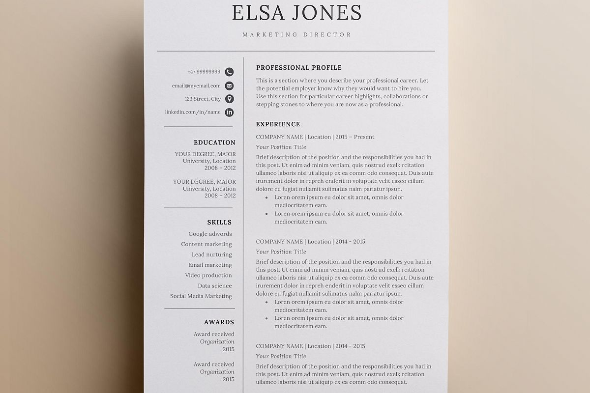 Resume template & Cover Letter + Icon S | Design Bundles