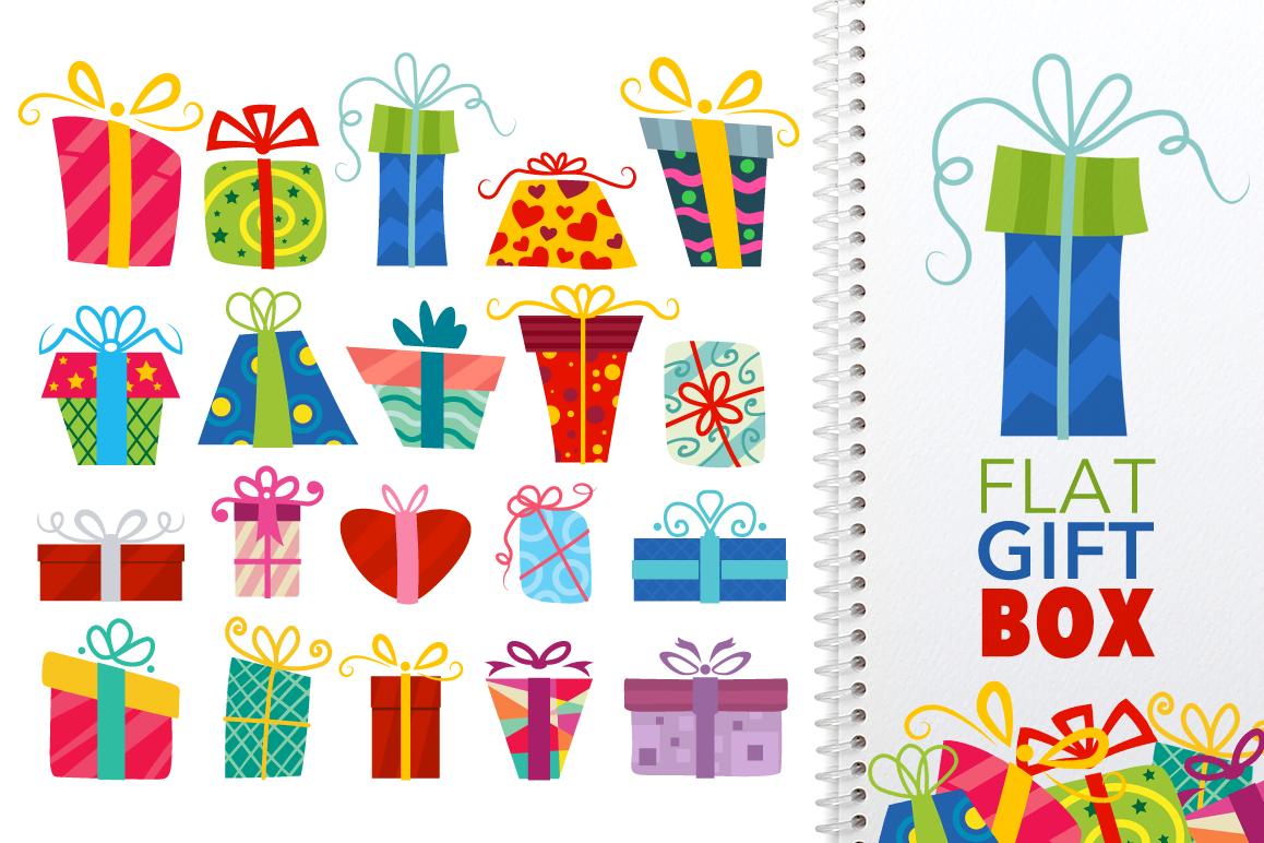 Flat Gift Box Set - Vector example image