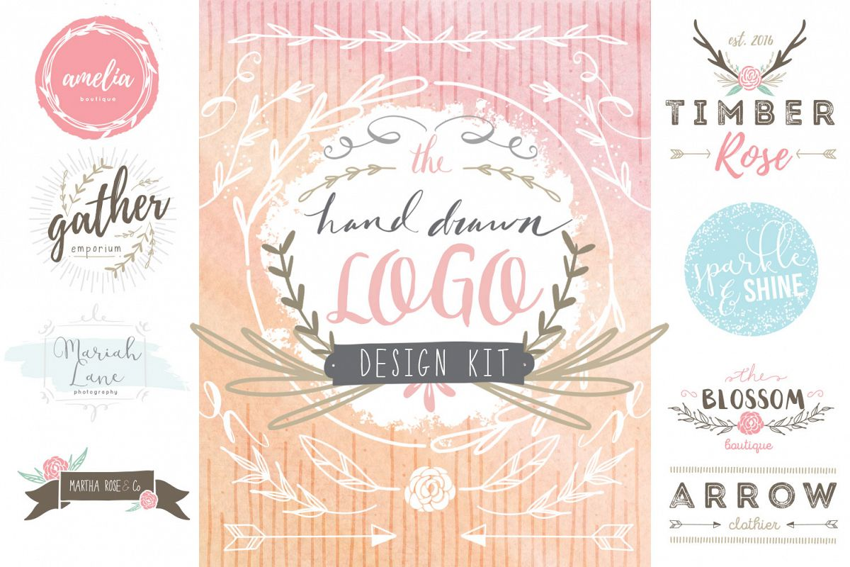 Hand Drawn Logo Design Kit example image