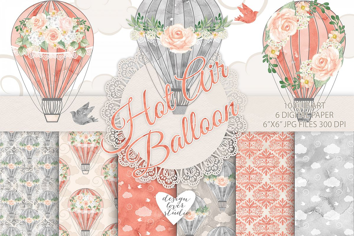 Watercolor Hot Air balloon flowers pack example image