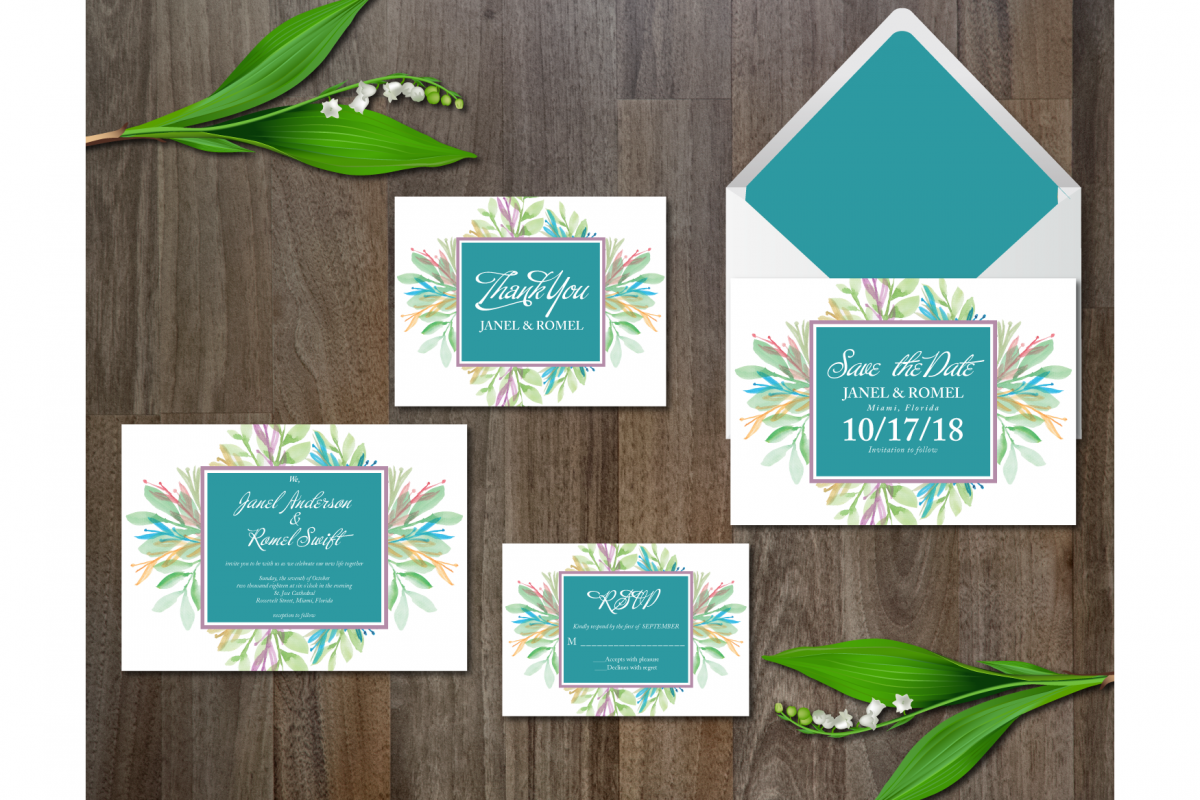 Watercolor Flower Wedding Suite by atic | Design Bundles