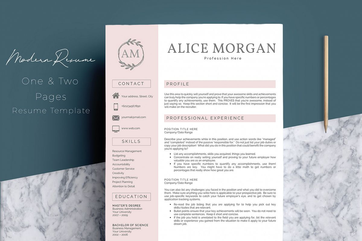 Professional Creative Resume Template - Alice Morgan example image