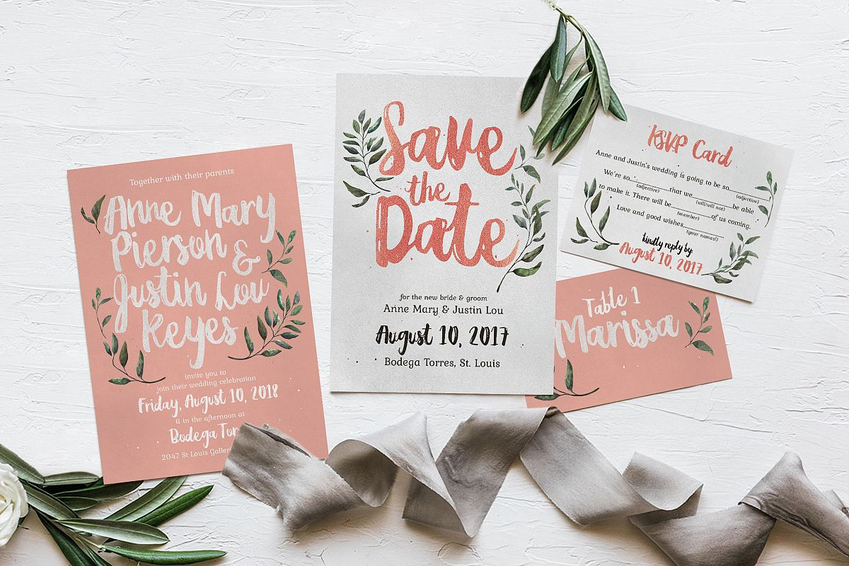 Rustic Pink & Green Wedding Invitation | Design Bundles