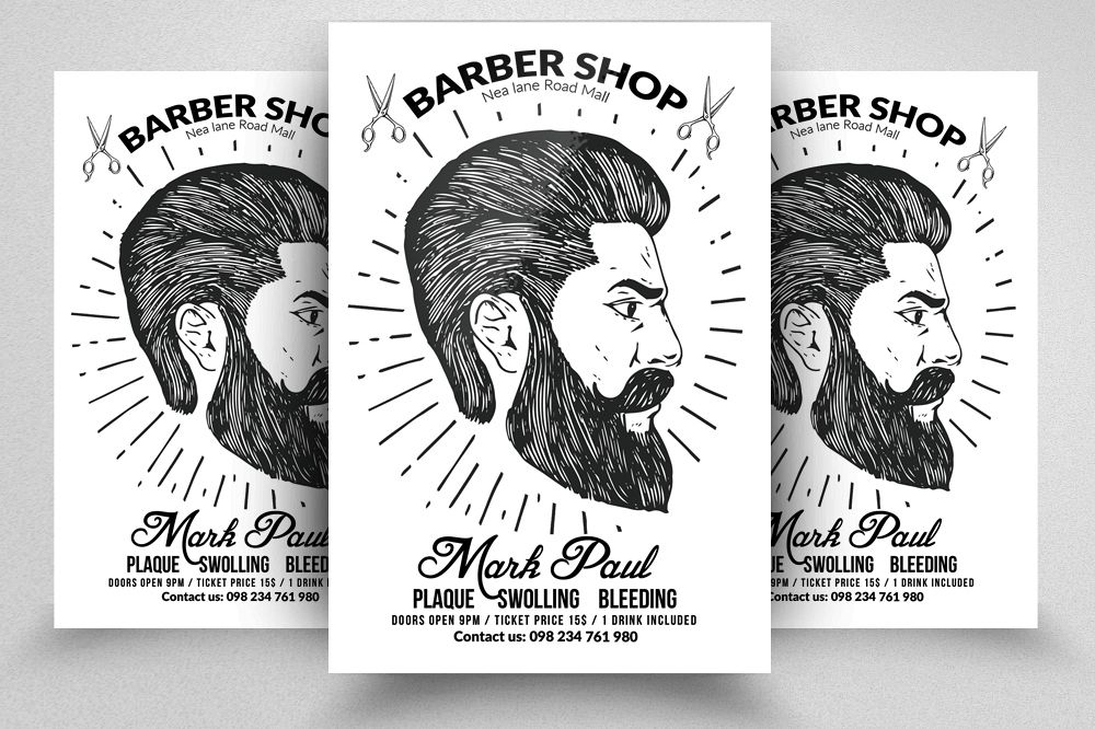 Barber Shop Editable Flyer Templates By Design Bundles