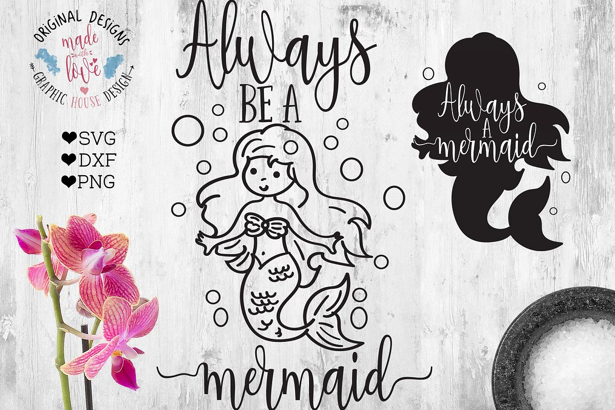 Always Be a Mermaid  (SVG, DXF, PNG) example image