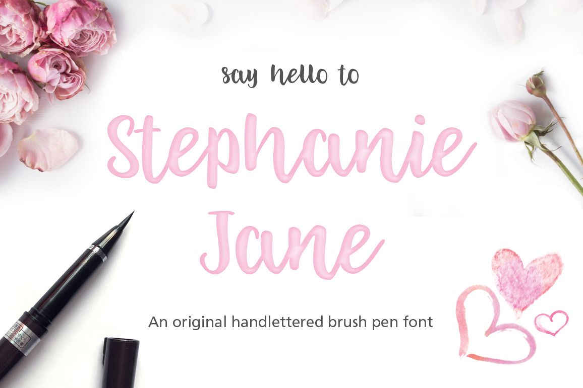 Stephanie Jane hand lettered font example image