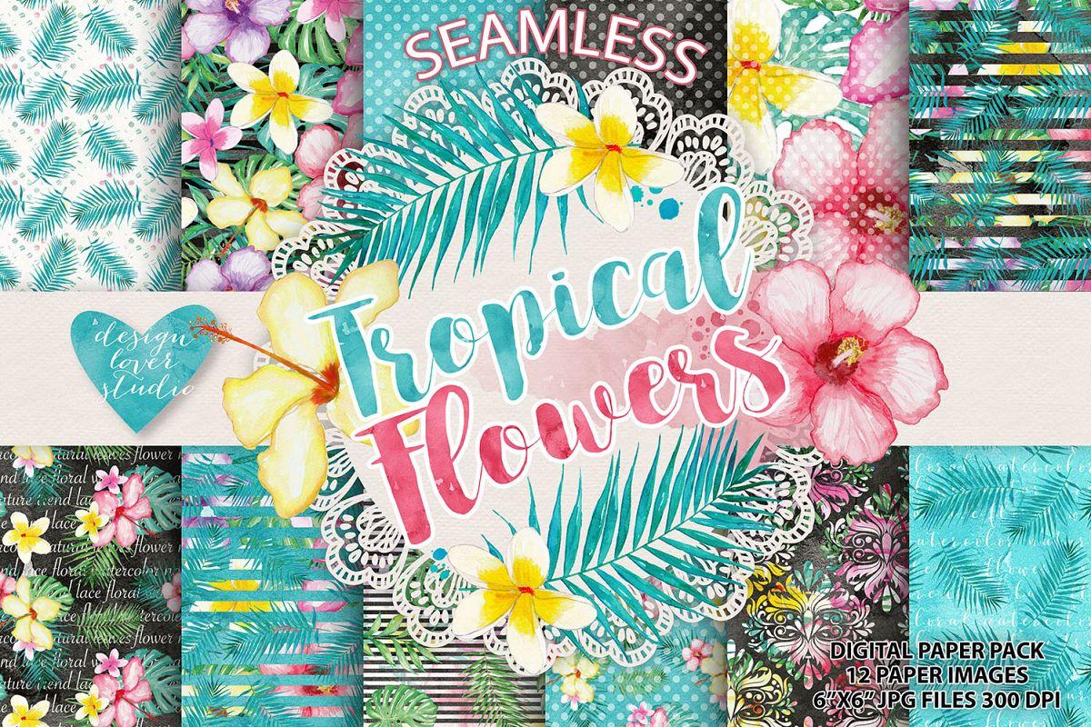 Watercolor Tropical flowers digital paper example image