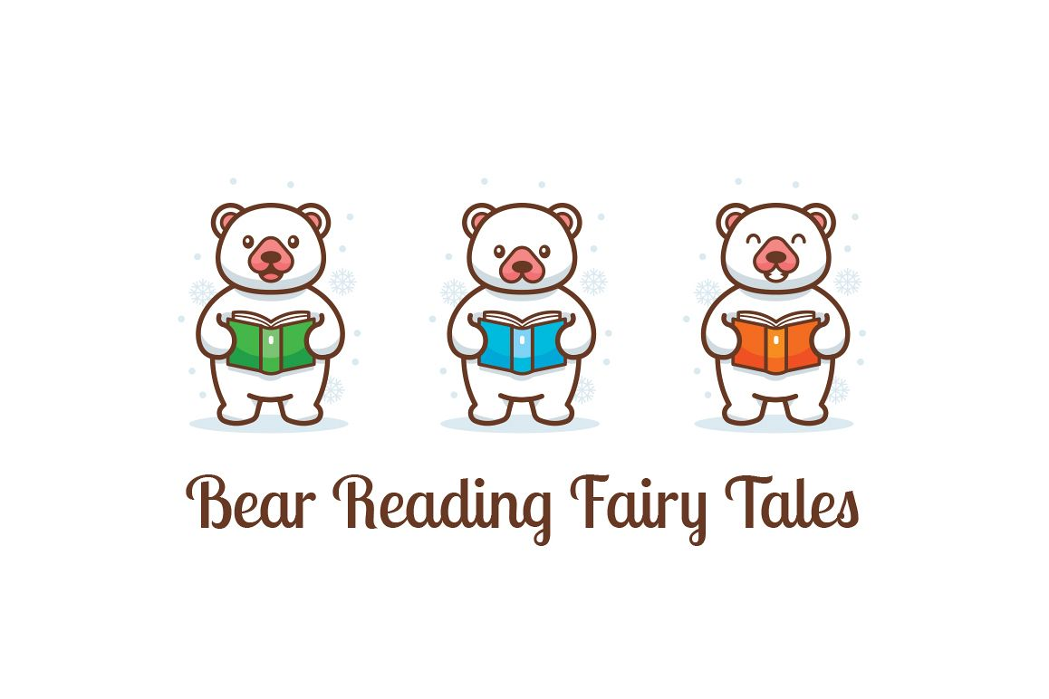 Bear reading fairy tales clipart example image