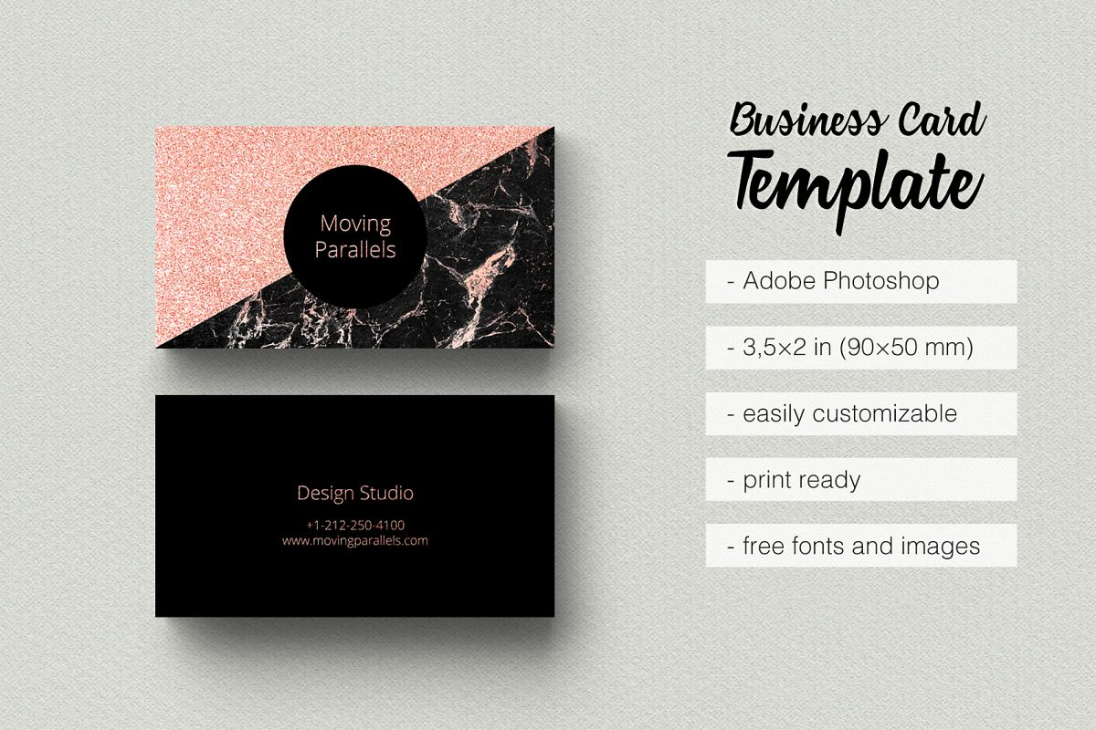Rose Gold Foil Marble Business Card by | Design Bundles