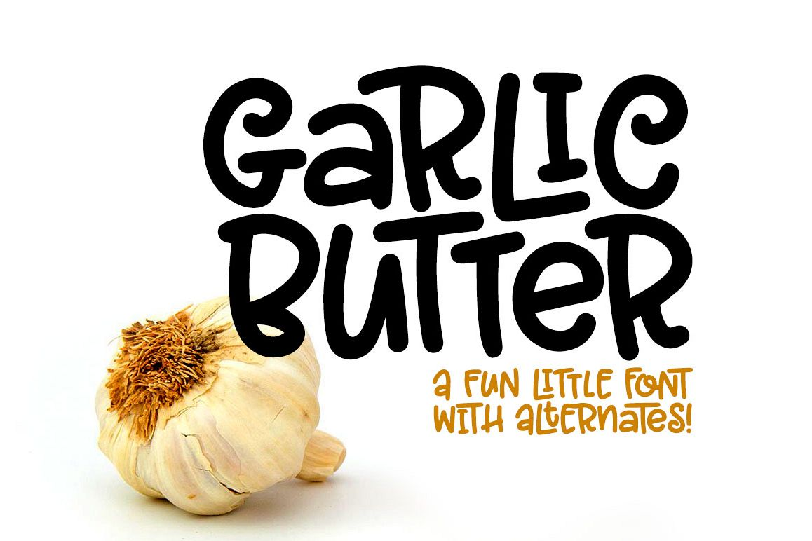 Garlic Butter: a tasty fun font! example image