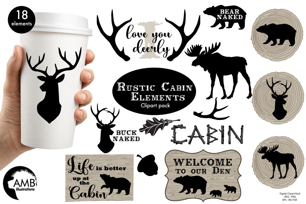 Rustic Cabin Elements,graphic, illustration, clipart AMB-1870 example image
