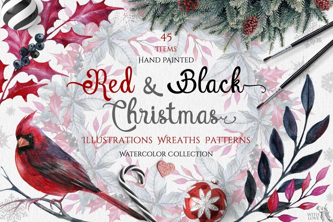 Watercolor Red & Black Christmas Set example image