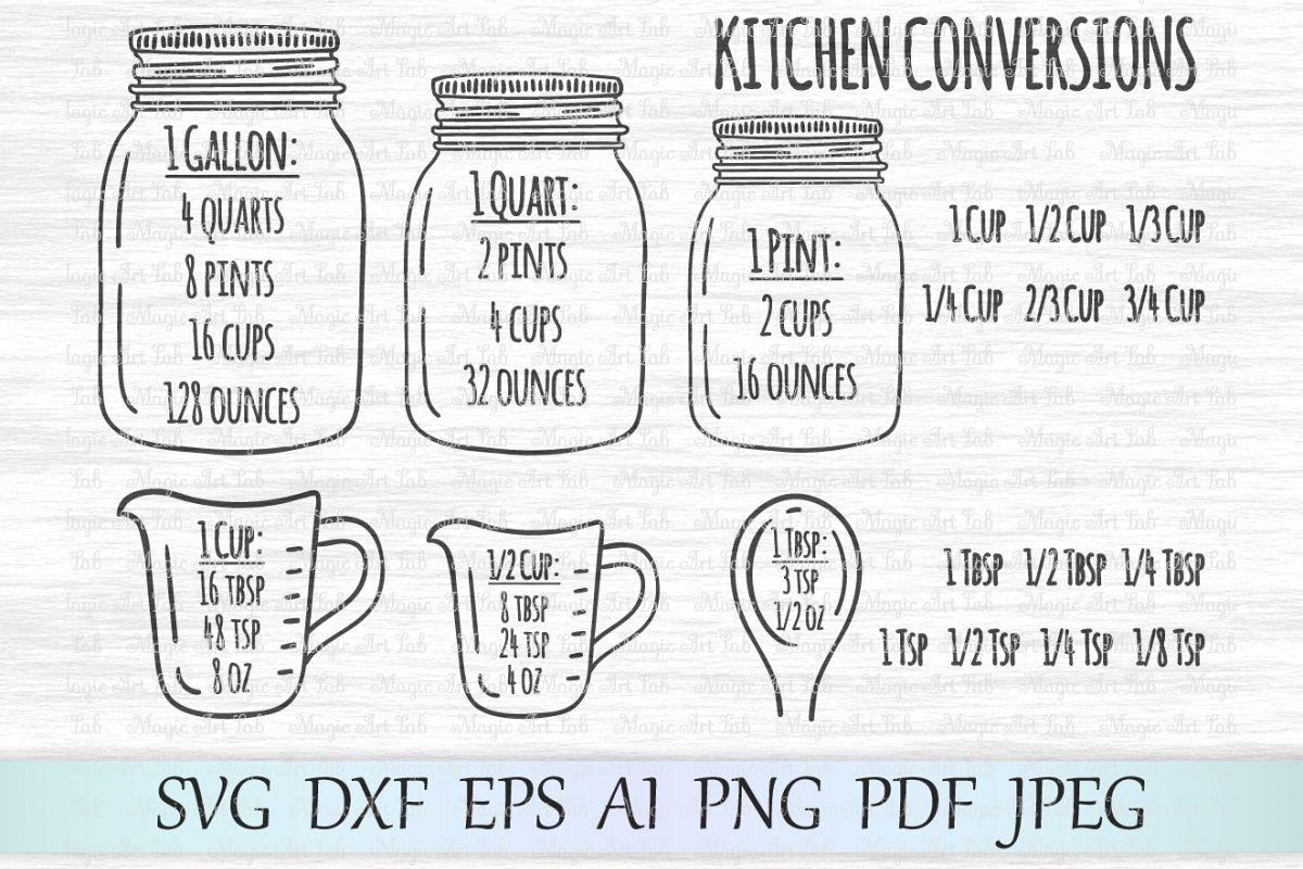 Kitchen conversions svg, Measurement ch | Design Bundles