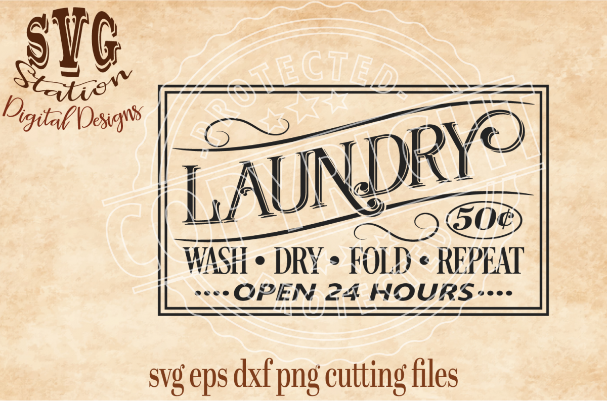 Vintage Laundry Cut File Example Image