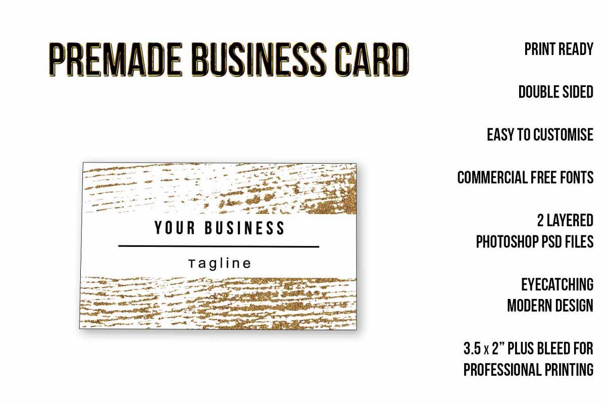 Gold Paint Strokes Business Card Templa | Design Bundles