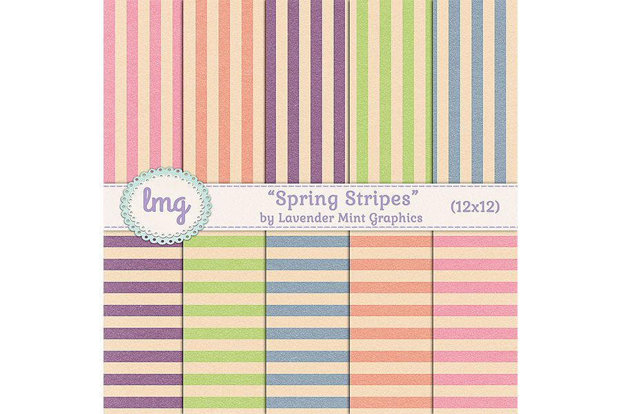 Spring Stripes Digital Scrapbook Paper example image