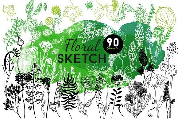 Floral sketch & watercolor example image