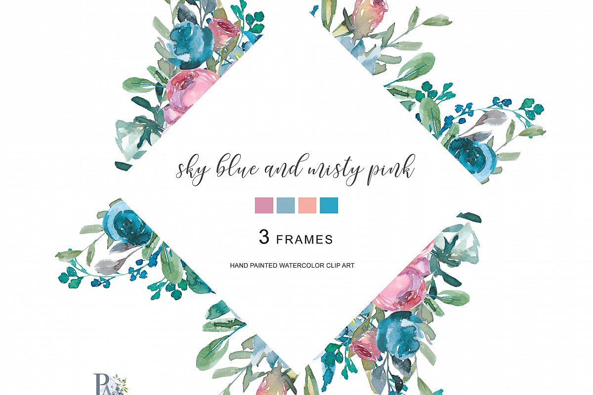 Watercolor Floral Frames Hand Painted W   Design Bundles