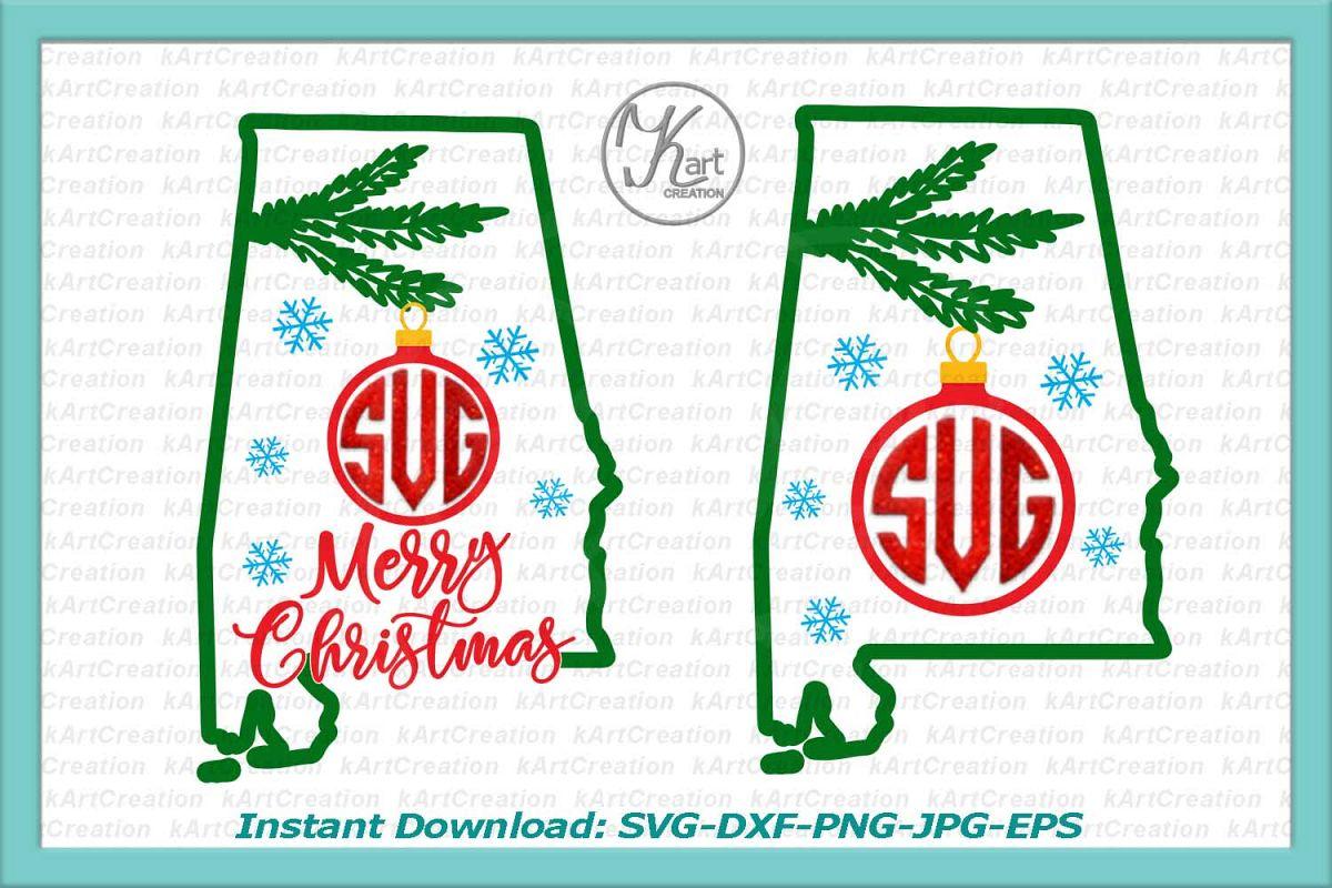 Alabama Christmas Monogram svg, Alabama Christmas svg, Alabama Monogram iron on, Alabama monogram svg, iron on printable, dxf, commercial example image
