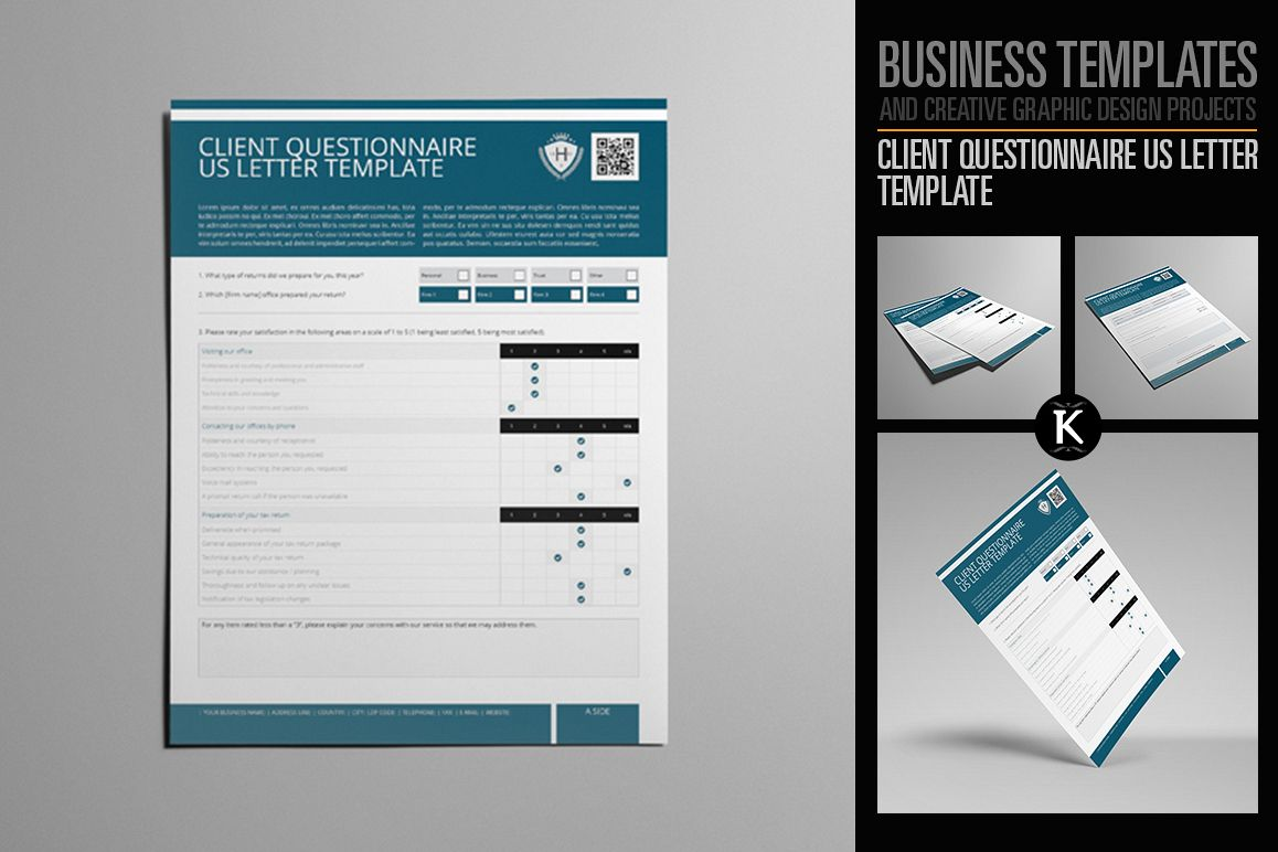 Client Questionnaire US Letter Template | Design Bundles