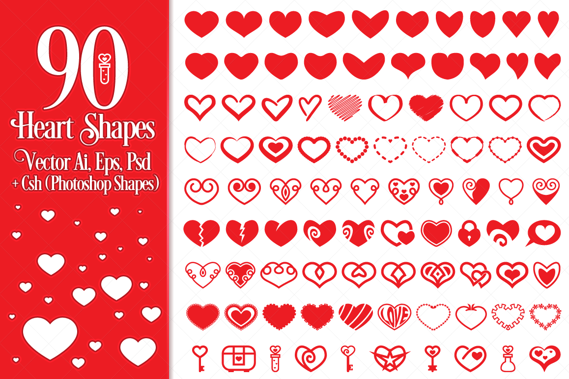 90 Vector Heart Shapes example image
