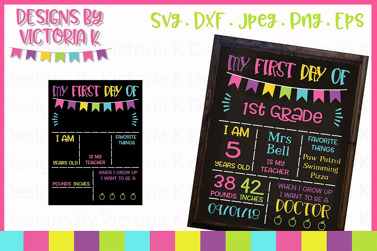 Back to school board, chalkboard style, SVG, DXF, PNG example image