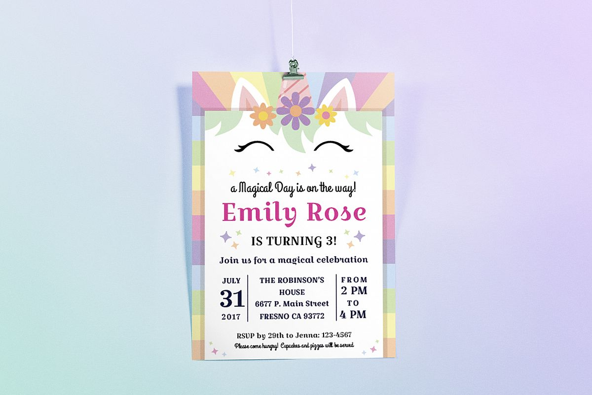 Happy Unicorn Birthday Party Invitation Design Bundles