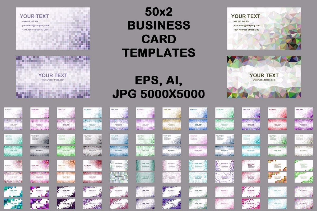 50x2 mosaic design business card templates (EPS, AI, JPG 5000x5000) example image