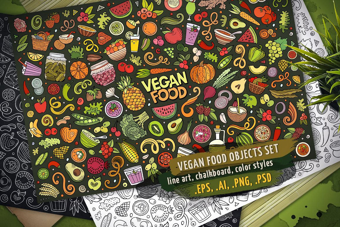 Vegan Food Objects & Elements Set example image