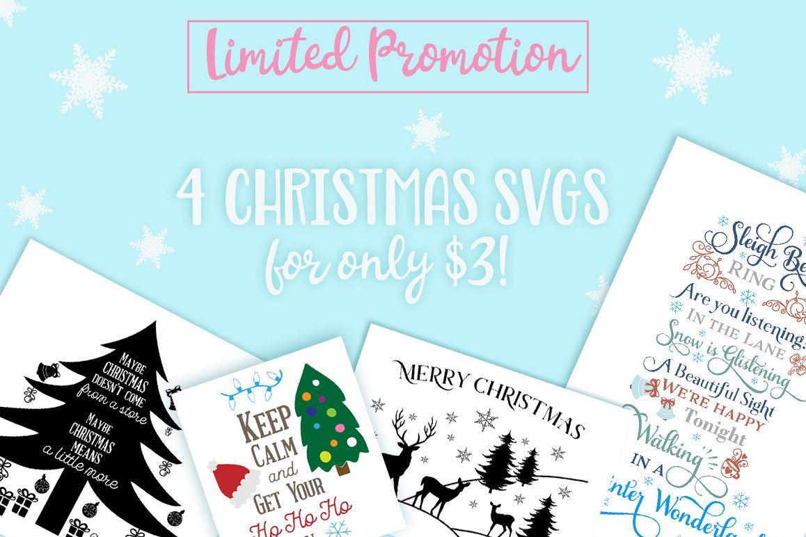 4 Christmas Cutting Files For $3 Only! Sleigh Bells Ring   Merry Christmas    Keep
