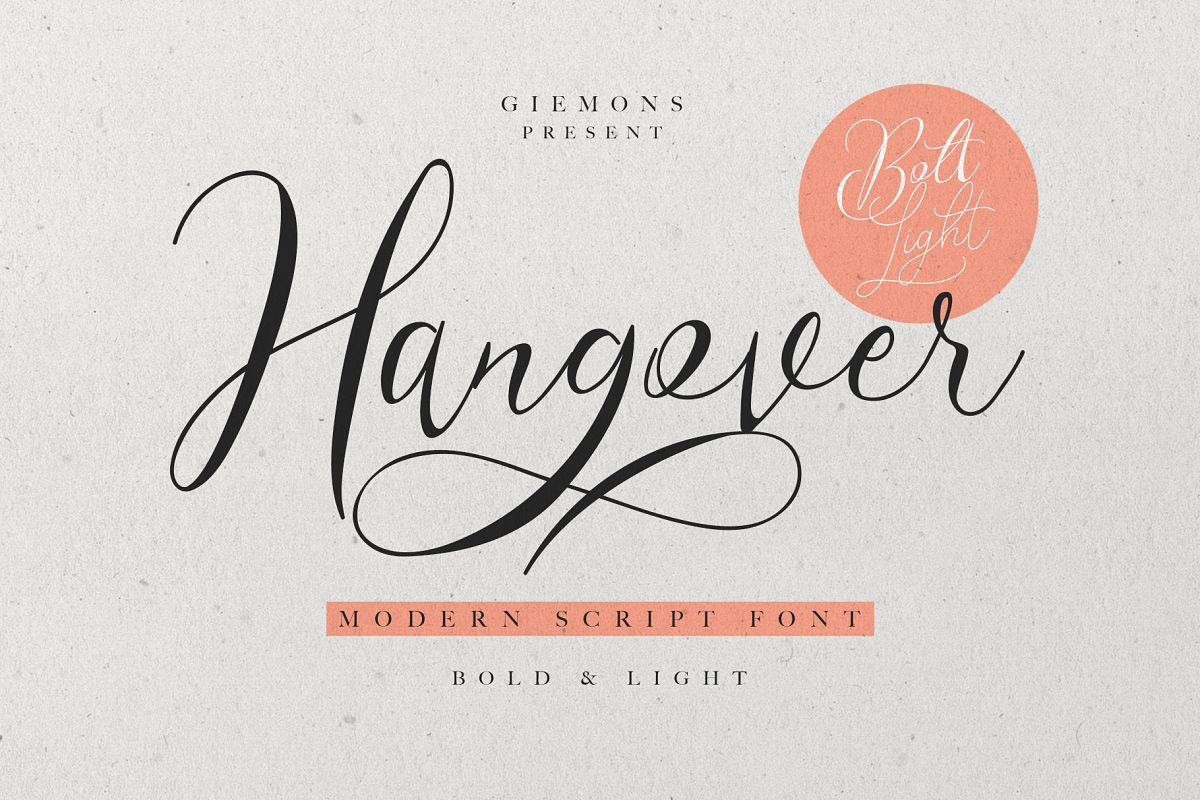 Hangover Script - 2 Font example image
