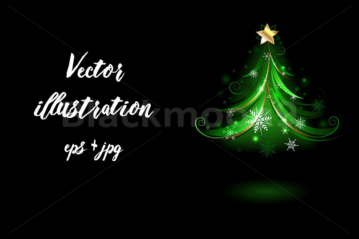 Green Fir Tree with Snowflakes ( Christmas tree ) example image