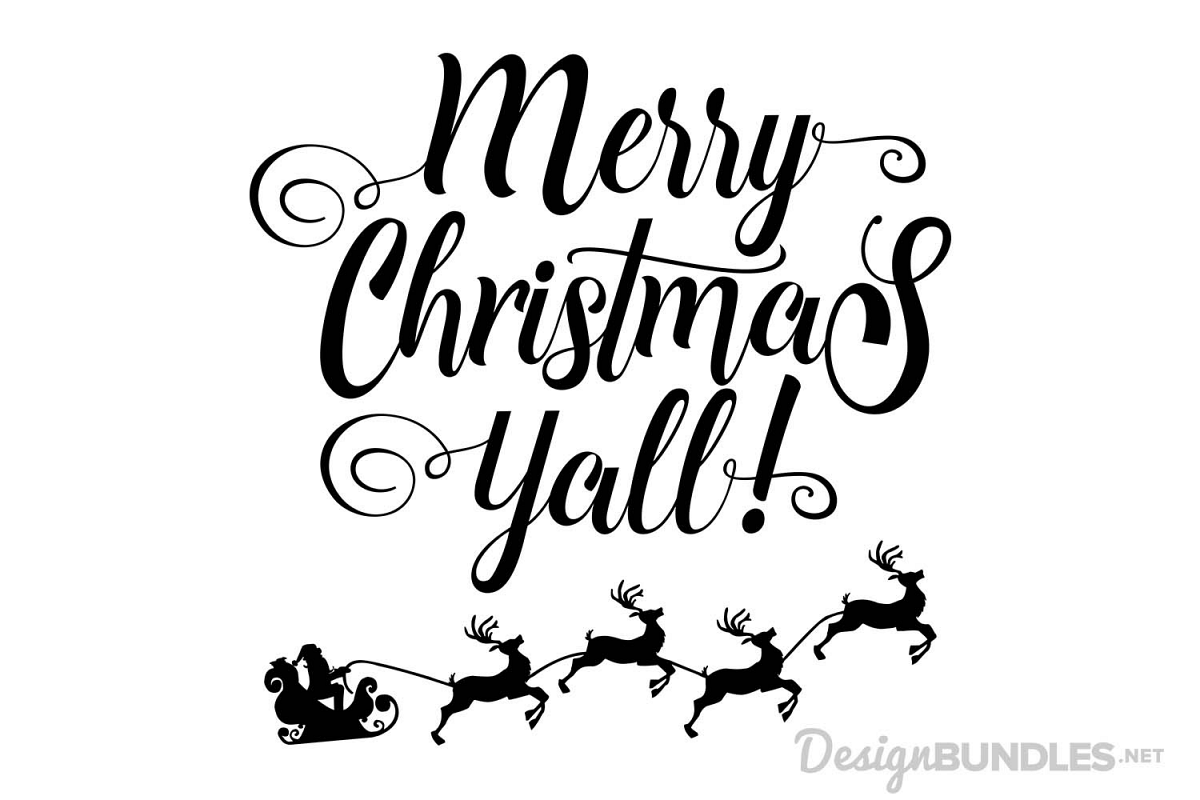 Merry Christmas Yall - SVG example image