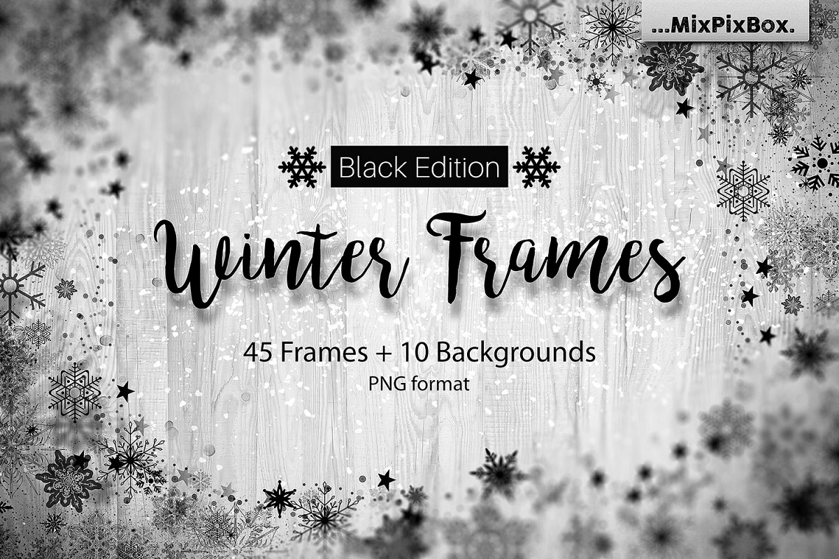 Winter Frames - Black Edition by MixPix | Design Bundles