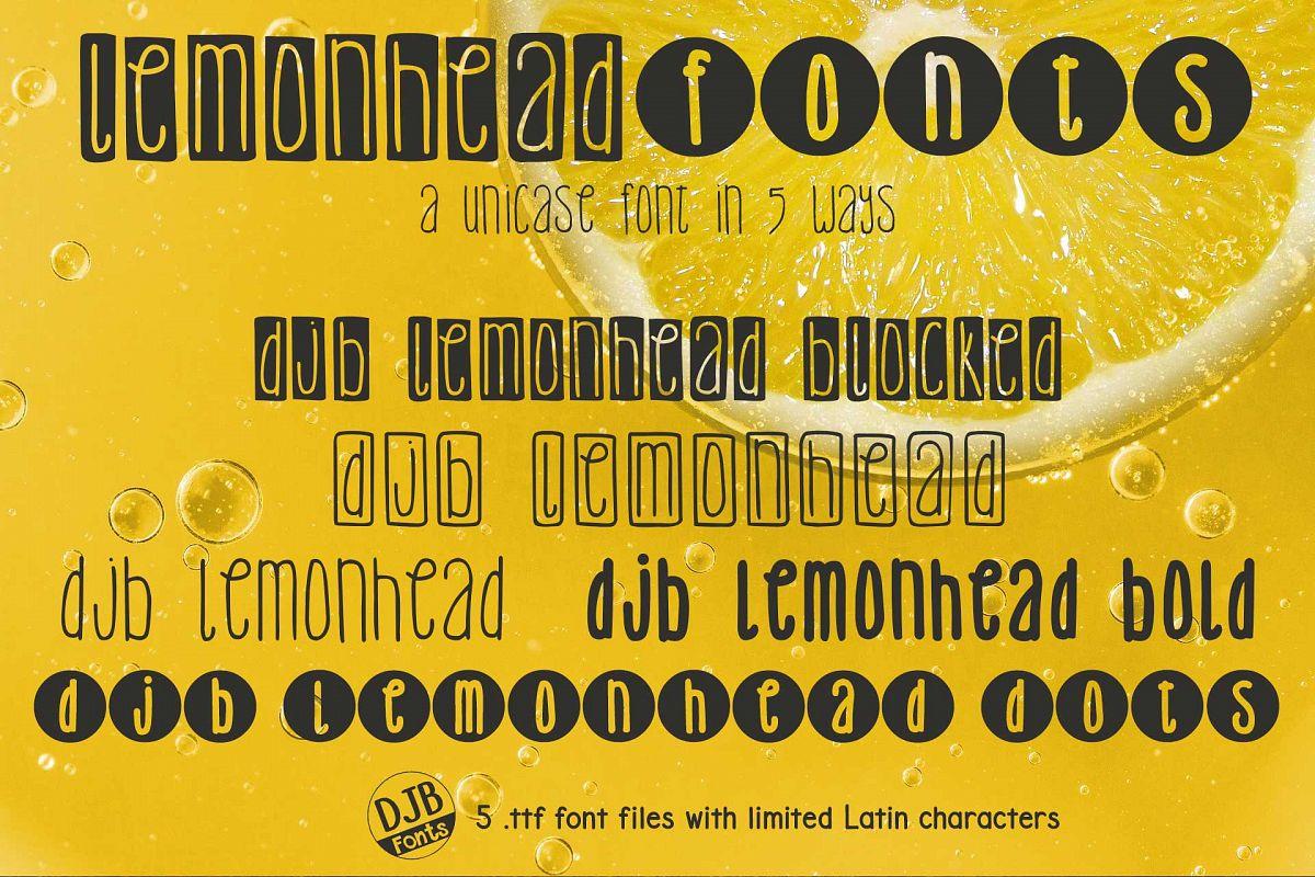DJB Lemonhead Font Bundle example image