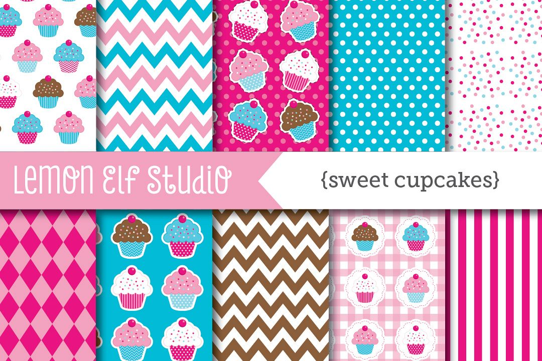 Sweet Cupcakes-Digital Paper (LES.DP04B) example image