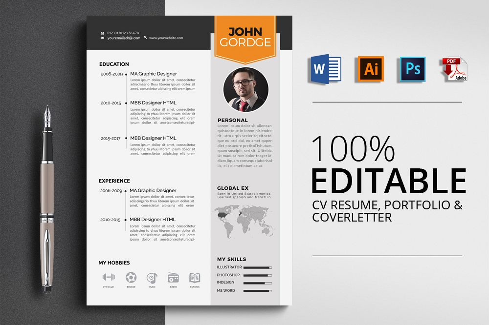 Resume Cv Word Template by Designhub719 | Design Bundles