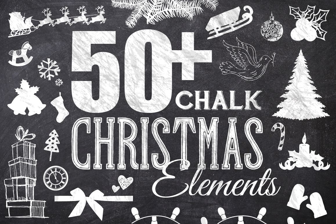 50 Chalk Christmas Elements example image