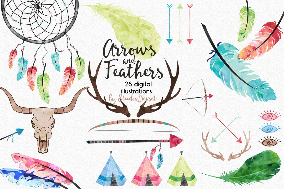 arrows and feathers tribal watercolor design bundles