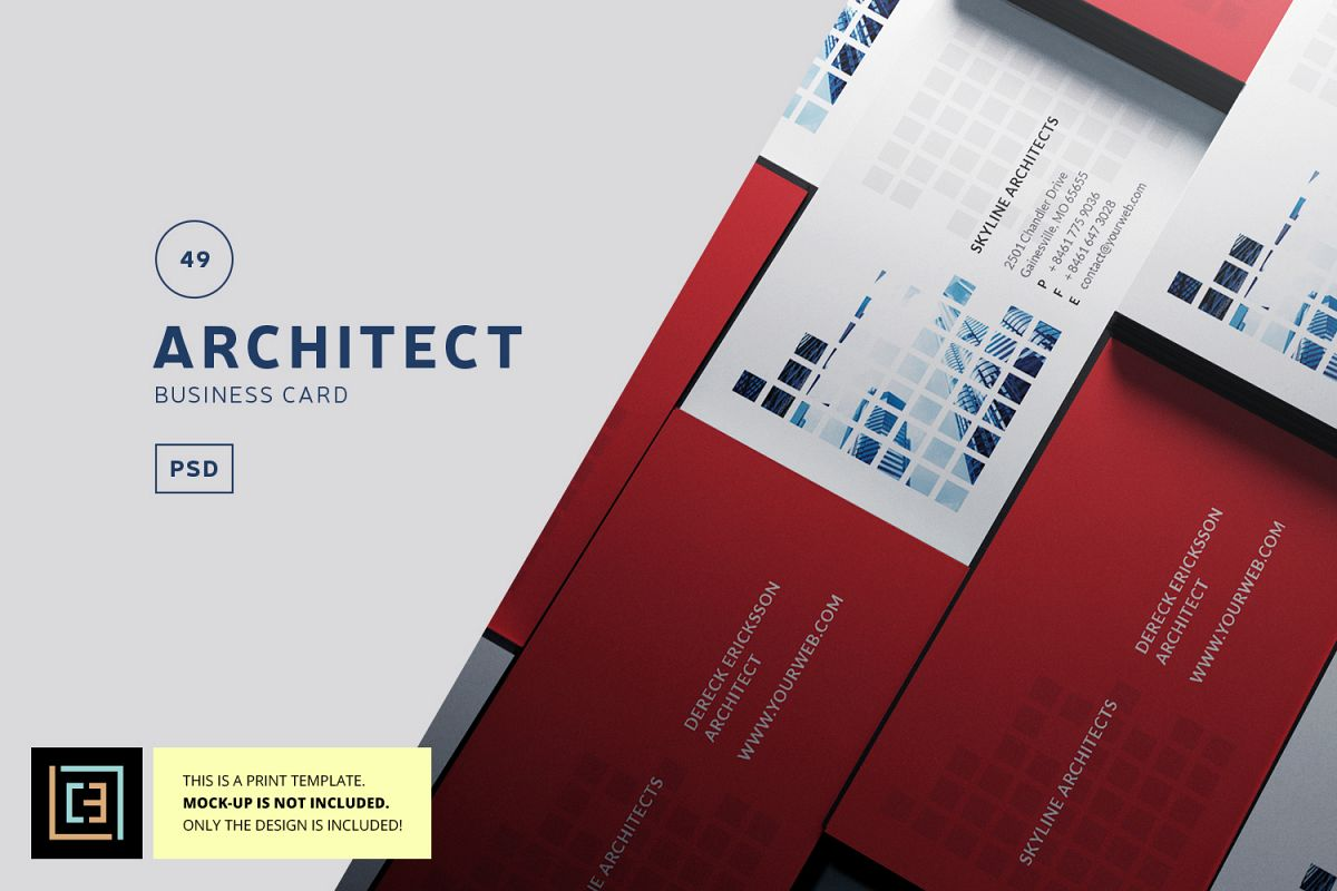Architect Business Card - BC049 by Cool | Design Bundles